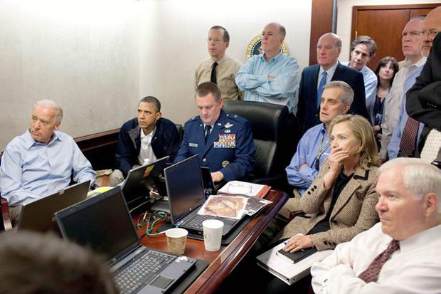 Barack Obama watches the operation to kill Osama bin Laden; (below) Colin Powell could have been a presidential contender