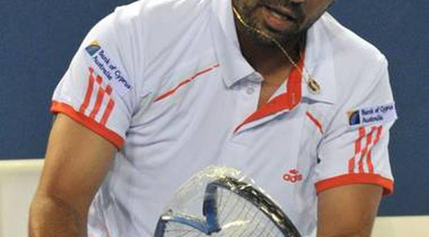 <b>Marcos Baghdatis</b><br/> Marcos Baghdatis smashed four rackets during his defeat in the second round of the Australian Open.
