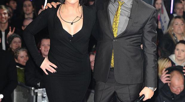 Host Brian Dowling with Natalie Cassidy after she was evicted from the Celebrity Big Brother House