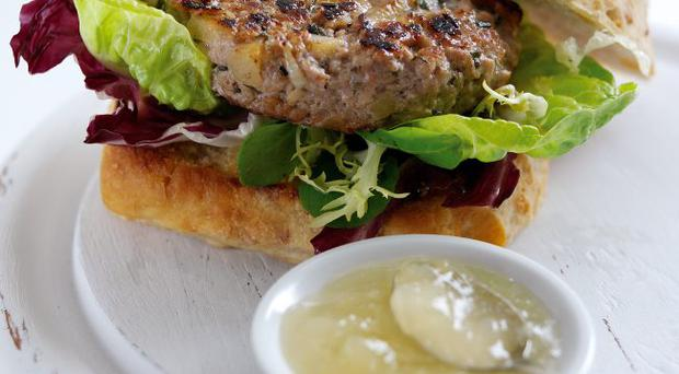Apple and pork burgers