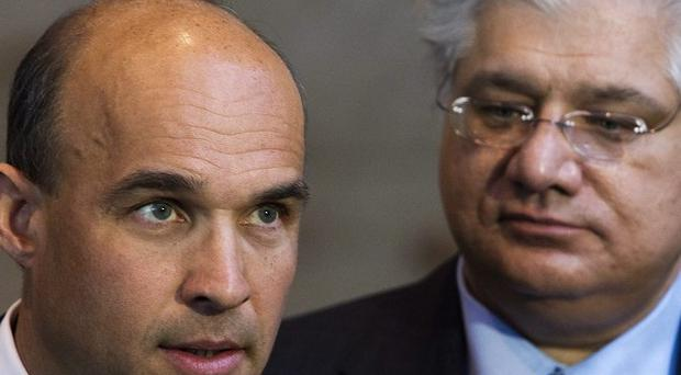 Research In Motion co-CEOs Jim Balsillie, left, and Mike Lazaridis are stepping down (AP/The Canadian Press)