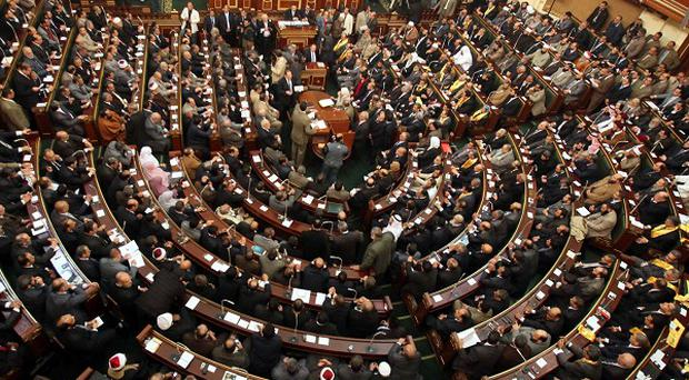 A general view of the first Egyptian parliament session after the revolution (AP)
