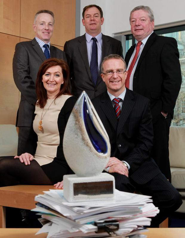 Judges for the Ulster stage of the Ulster Bank Business Achievers Awards included, front Grainne Kelly owner of BubbleBum UK, which picked up the Best Business Start-Up category last year and Ian Jordan, Ulster Bank; Back (l-r) Donal Durkan of Invest Northern Ireland, Sam McIlveen, Belfast Telegraph's digital publisher and Liam Nellis of InterTradeIreland.