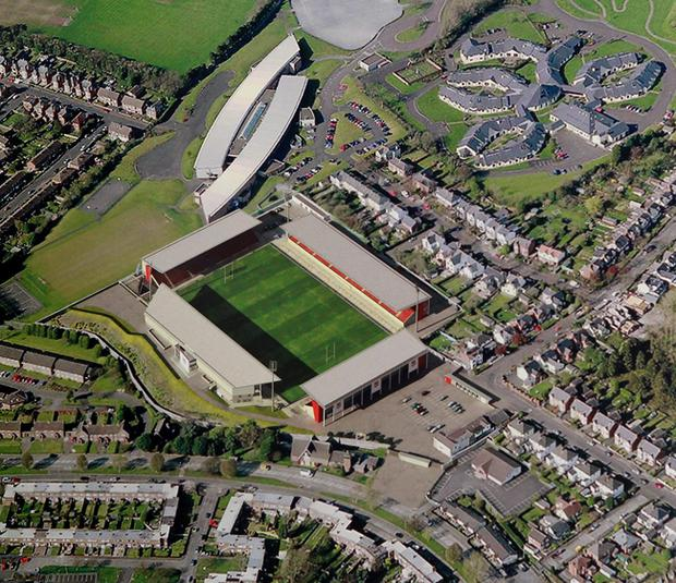 An aerial view of how the revamped Ravenhill rugby stadium will look