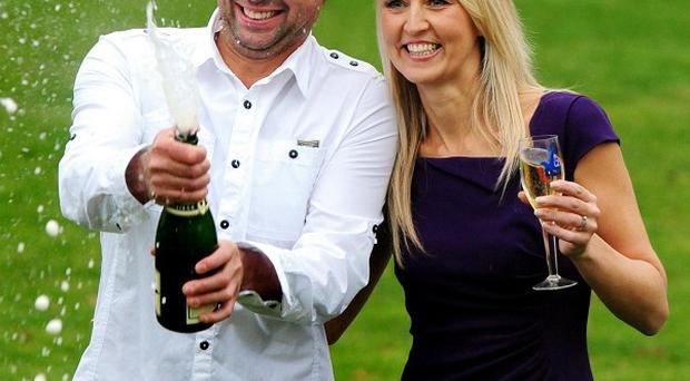 Gareth and Catherine Bull celebrate at Eastwood Hall, Nottingham, after winning £40,627,241