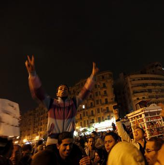 Protesters have gathered at Tahrir Square in preparation to mark the first anniversary of the uprising (AP Photo/Khalil Hamra)