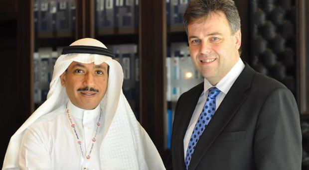 Dr Mazen Soliman Fakeeh, director general of Dr Soliman Fakeeh Hospital in Jeddah, with Invest NI chief executive Alastair Hamilton. The University of Ulster has a contract with the hospital to provide nursing training