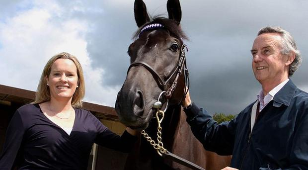 Dr Emmeline Hill and Mr Jim Bolger, right, co-founders of Equinome, at his training yard in Coolcullen, Co Kilkenny
