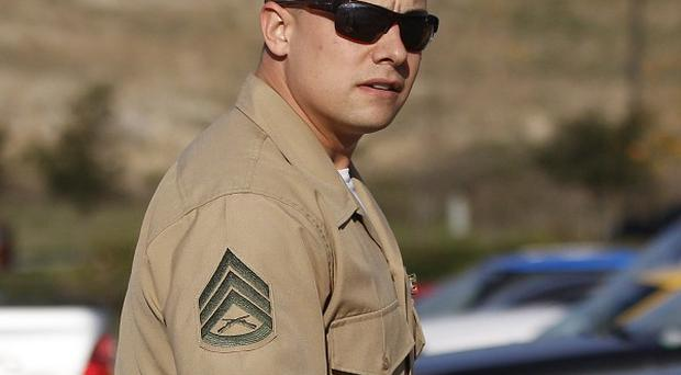 Marine Corps Staff Sgt Frank Wuterich leaves after a court session at Camp Pendleton in California (AP)