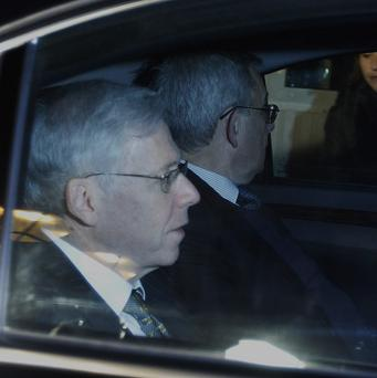 Charles Dallara, foreground, and Jean Lemierre arrive for a meeting with Greek premier Lucas Papademos in Athens (AP)