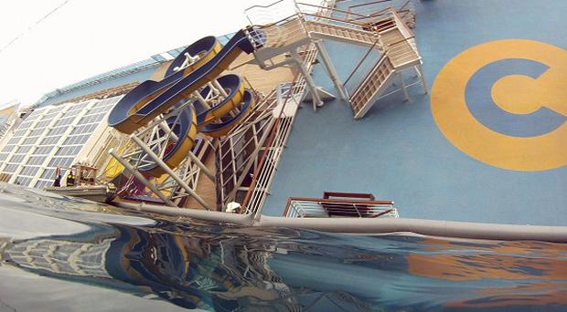 View of the bow of the grounded cruise ship Costa Concordia off the Tuscan island of Giglio, Italy (AP)