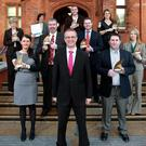 Ian Jordan (front centre), head of business and commercial banking at Ulster Bank, joined winners Grainne McCullagh of Guardian 24 (front left) and Nishi Ward of Waste Systems (front right). In the second row (from left) are John Toner of Glantek, John McVeigh of Crossgar Foodservice and Elaine Gillespie of TG Eakin. In the back row (from letf) Anne Walsh of East Belfast Mission is joined by Vicki McDwyer of Esker Lodge Nursing Home, Michael O'Donnell of Island Seafoods and Eleanor McEvoy of Budget Energy