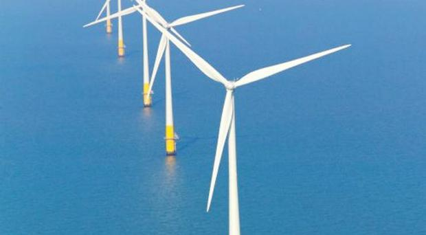 Kentish Flats Wind Farm. Belfast's Harland and Wolff shipyard has started work on assembling 30 massive wind turbines that will operate off the English coast.