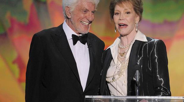 Dick Van Dyke presents the Life Achievement award to Mary Tyler Moore at the 18th Annual Screen Actors Guild Awards
