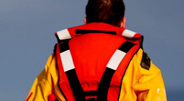 An air and sea search is under way for a man missing from a trawler in the Irish Sea