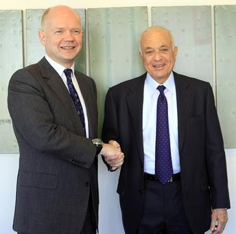 Foreign Secretary William Hague meets Arab League secretary-general Nabil Elaraby ahead of a UN Security Council meeting on Syria (AP)