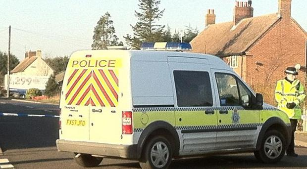 Police at the scene in Sutton St James, Lincolnshire