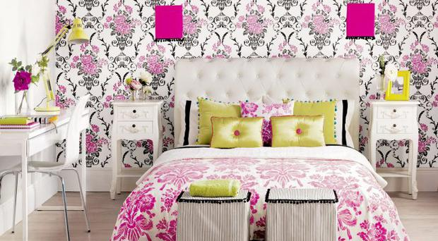 GUILD'S LOOK: Wallpaper £13.98 per roll, B&Q; flooring £28.49 per square metre, Quick Step; bedstead from £475, Next; bedside tables £59.99 each, Dunelm Mill; bedcover fabric £28 per metre, Laura Ashley; Plain Square shade £3.99, from B&Q, trim £4.20 per metre, John Lewis