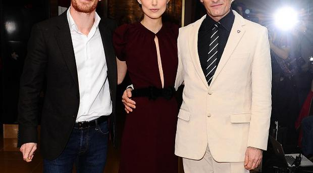 Michael Fassbender, left, Keira Knightley and Viggo Mortensen at the gala premiere of A Dangerous Method