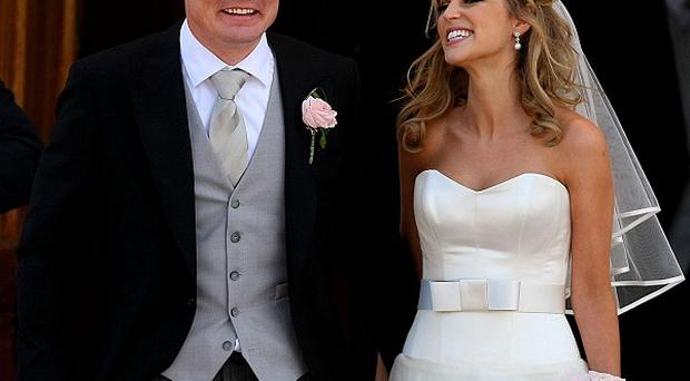 Irish rugby captain Brian O'Driscoll and actress wife Amy Huberman