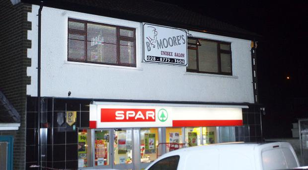 The scene after a man in his twenties took his own life in a hairdressers in Dungannon, County Tyrone