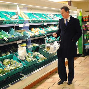 David Cameron selects produce at Morrisons in Plymouth