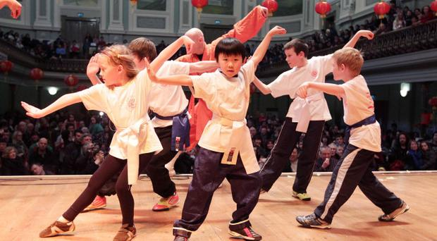 Chinese New Year celebrations at the Ulster Hall in Belfast. Feb 2012