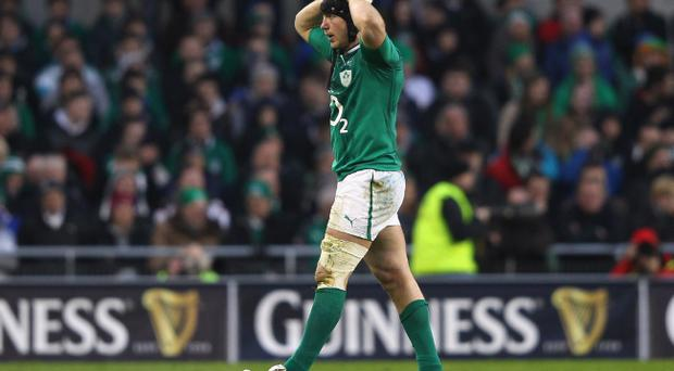 DUBLIN, IRELAND - FEBRUARY 05: Stephen Ferris of Ireland is sent to the sin bin for a tip tackle and concedes the vital penalty kick during the RBS Six Nations match between Ireland and Wales at the Aviva Stadium on February 5, 2012 in Dublin, Ireland. (Photo by Alex Livesey/Getty Images)