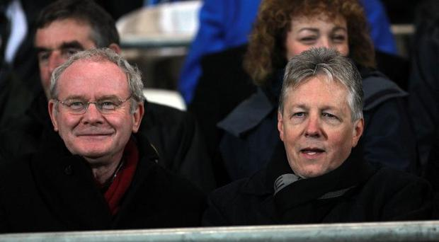 Perfect match: Martin McGuinness and Peter Robinson at the Derry-v-Tyrone game