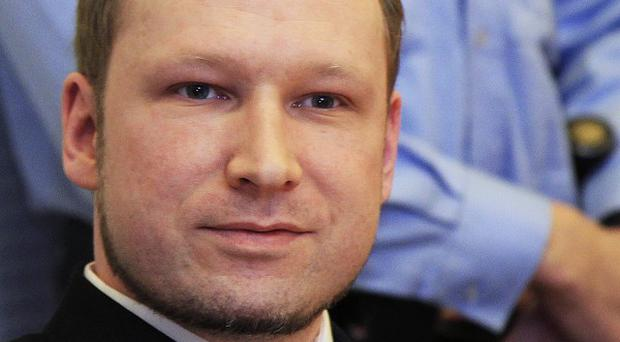 Anders Breivik, the right-wing extremist who confessed to killing 77 people in Norway at his latest court hearing (AP)
