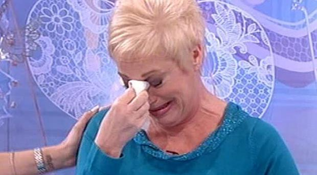 ITV handout videograbbed image of Denise Welch appearing on the ITV1 programme Loose Women where she revealed on live TV that she has separated from husband Tim Healy. PRESS ASSOCIATION Photo. Picture date: Monday February 6, 2012. The actress, who recently won Celebrity Big Brother, confessed they split