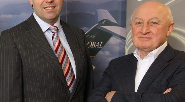 Base chairman David Raymond (right) and Invest NI chief executive Alastair Hamilton are eager to harness opportunities for expansion in the aerospace sector here