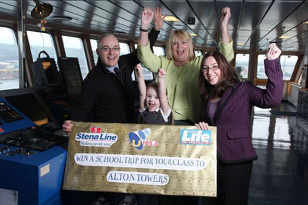 Just the Ticket...Leading ferry company Stena Line is offering schoolchildren throughout Northern Ireland the chance to win an amazing two-night trip to Alton Towers for their class. Teaming up with Sunday Life and U105, schoolchildren, friends and family are encouraged to collect tokens each week both in the Sunday Life and by listening to U105 from February 5 to March 25. The winning class who collects the most tokens will set sail from Belfast to Liverpool in May to enjoy the rides and attractions of the theme park. Kick starting the competition is (l-r) U105s Frank Mitchell, Stena Lines Head of Communications and PR, Diane Poole OBE, Sunday Lifes Gail Henderson and Taylor Barlow from Dromore Central Primary School.