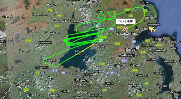 The flightpath of flight TCX25MR showing the plane circling Lough Neagh before it landed