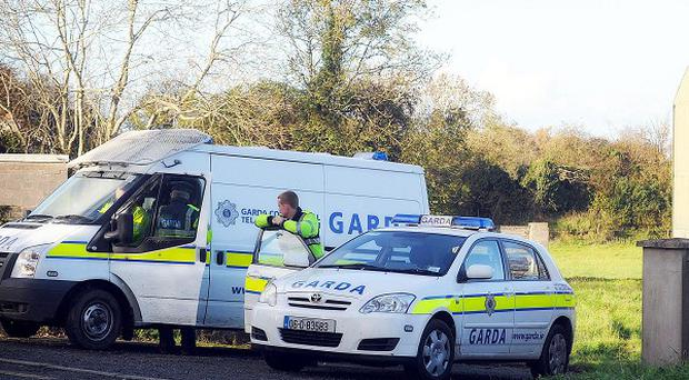 Gardai investigating the murder of Ciaran Noonan, at the site of discovered remains on the Dublin side of Trim, Co Meath