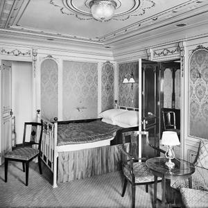 Titanic first class suite bedroom 'b58'. Photograph © National Museums Northern Ireland. Collection Harland & Wolff, Ulster Folk & Transport Museum