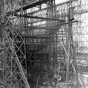 Titanic, upper part of stern frame in position. Photograph © National Museums Northern Ireland. Collection Harland & Wolff, Ulster Folk & Transport Museum