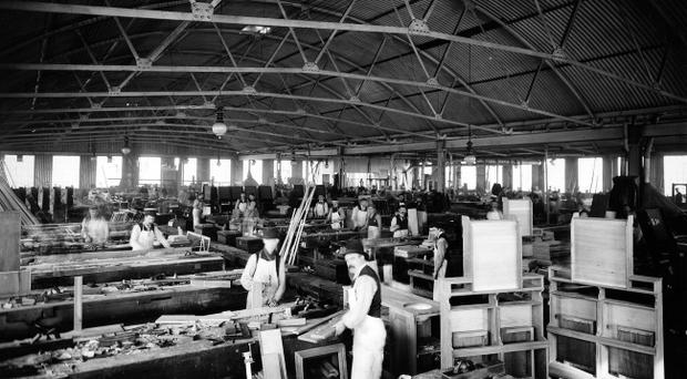 Titanic. In this photograph of the cabinet shop, taken in 1899, a small army of cabinet-makers are at work. Photograph © National Museums Northern Ireland. Collection Harland & Wolff, Ulster Folk & Transport Museum