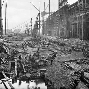Workmen prepare the Titanic slipway. Photograph © National Museums Northern Ireland. Collection Harland & Wolff, Ulster Folk & Transport Museum