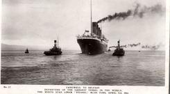 Titanic leaving Belfast. Photograph © National Museums Northern Ireland. Collection Harland & Wolff, Ulster Folk & Transport Museum