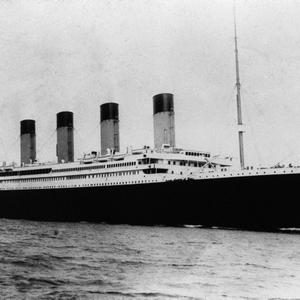 "The ""unsinkable"" four-funnelled ship the SS Titanic. Part of the White Star Line, Titanic sank off Newfoundland on her maiden voyage to the USA after striking an iceberg (14-15/4/1912). Photograph © National Museums Northern Ireland. Collection Ulster Folk & Transport Museum"