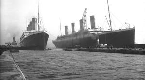 Olympic and Titanic. Photograph © National Museums Northern Ireland. Collection Harland & Wolff, Ulster Folk & Transport Museum