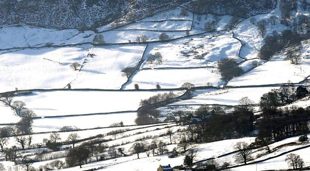 Snow-covered fields near Farndale, North Yorkshire, as Britain's big freeze shows little sign of relenting