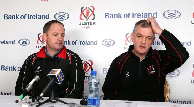 Director of Rugby at Ulster Rugby David Humpreys (left) and Brian McLaughlin during yesterday's press conference where it was announced that McLaughlin would be stepping down as Ulster head coach at the end of the season