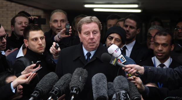 LONDON, ENGLAND - FEBRUARY 08: Harry Redknapp speaks to the gathered media outside Southwark Crown Court on February 8, 2012 in London, England. Football manager Harry Redknapp and former Portsmouth FC chairman Milan Mandaric were today found not guilty of charges of tax evasion between 2002 and 2004 when Mr Redknapp served as manager of Portsmouth FC. (Photo by Dan Kitwood/Getty Images)