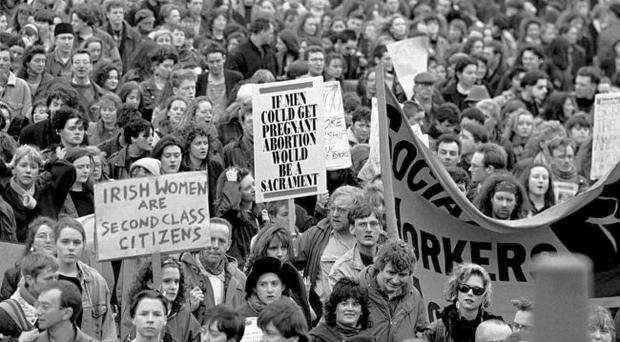 Taking to the streets: mass demonstrations protested against the ruling by Judge Declan Costello in the 'X' abortion case