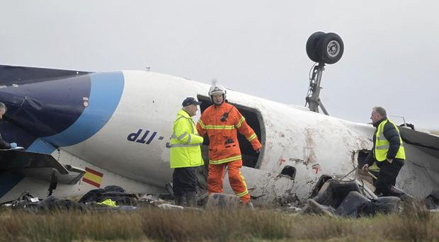 The scene at Cork Airport where six people died in a plane crash in February last year