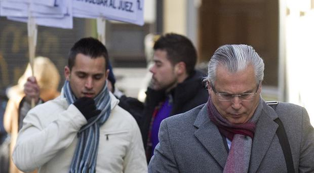 Judge Baltasar Garzon arriving for his trial at the Supreme Court in Madrid(AP)