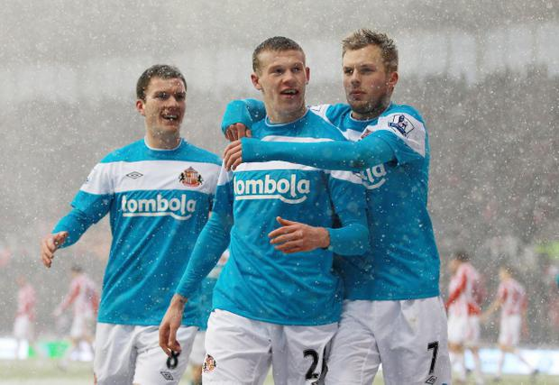 James McClean celebrates his goal against Stoke on Saturday, but he says it wasn't scored by a Northern Irishman