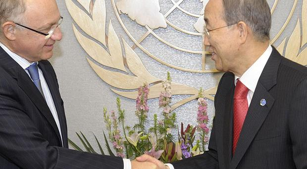 Argentine Foreign Minister Hector Timerman, left, meeting United Nations Secretary-General Ban Ki-moon (AP)